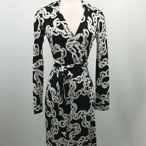 Diane Von Furstenberg Ruri Chain Wrap Dress Silk